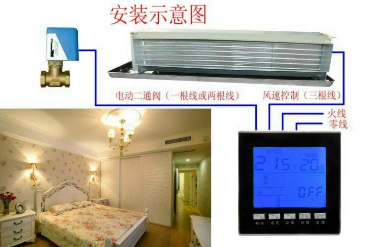 莱珂k301亚克力面板中央空调液晶温控器 风机盘管温度控制器 控温开关